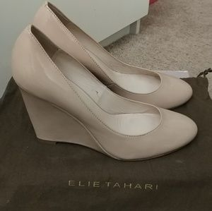 Elie Tahari Shoes - Elie Tahari Nude Patent Wedge